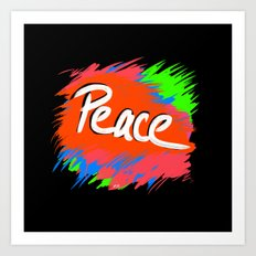 Peace (retro neon 80's style) Art Print