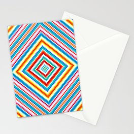 Simple Rainbow Chakra Mandala - Colorful - Romb - Folk Geometry  Stationery Cards