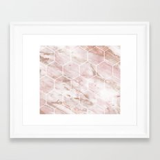 Pink marble with rose gold accents - hexagons Framed Art Print