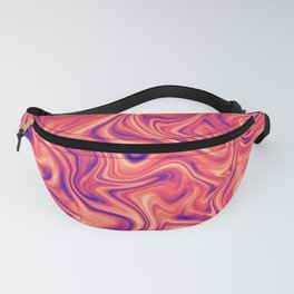 Abstract Colorful Marble Pattern Bright Living Coral, Neon Ultra Violet Fanny Pack