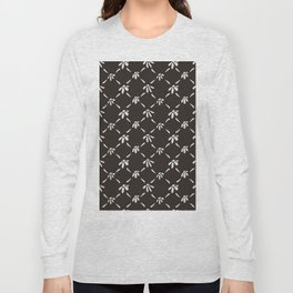 Floral Geometric Pattern Chocolate Brown Long Sleeve T-shirt