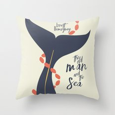 the Old Man and The Sea - Hemingway Book Cover Illustration Throw Pillow