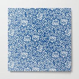 Blue Tudor Rose Damask Metal Print