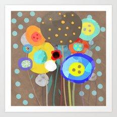 Blue Polka Dots - Ruth Fitta-Schulz Watercolour Art 2017 Art Print