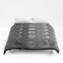 Etched Scratch Black and White Sun Moon Rows Comforters
