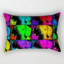 Colorful Pop Art Dachshund Doxie Face Closeup Tiled Image Rectangular Pillow