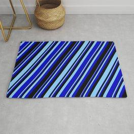 Light Sky Blue, Blue & Black Colored Stripes/Lines Pattern Rug