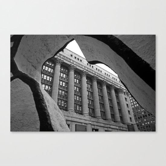Looking Through A Building Black and White Photo, Chicago Architecture Canvas Print
