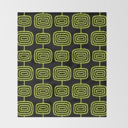 Mid Century Modern Atomic Rings Pattern Black and Chartreuse Throw Blanket