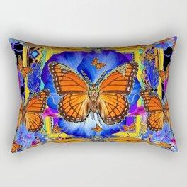 ABSTRACT ORANGE MONARCH BUTTERFLIES & BLUE FLORAL BLACK Rectangular Pillow