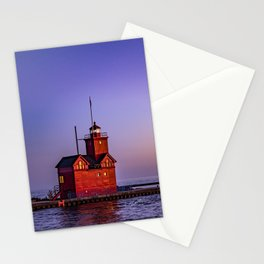 Big Red Lighthouse at Dusk - Holland Michigan Stationery Cards