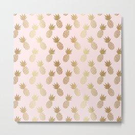 Pink & Gold Pineapples Pattern Metal Print