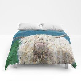 A Sweet Shaggy Highland Coo Comforters