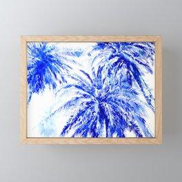 Blue Palm Trees beach california beach design aquatic beach blue design beach house Framed Mini Art Print