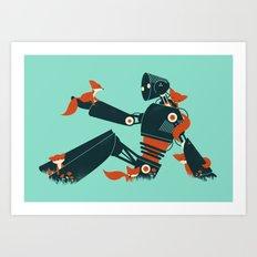 Foxes & The Robot Art Print