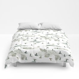 Hand painted green gray watercolor cloud bird pattern Comforters