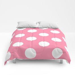 Large Polka Dots - White on Flamingo Pink Comforters