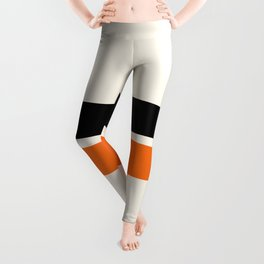 2 Stripes Black Orange Leggings