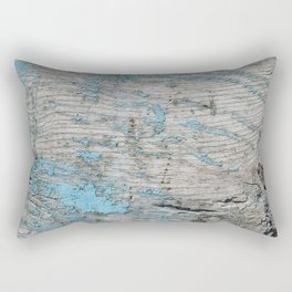 Peeled Blue Paint on Wood rustic decor Rectangular Pillow