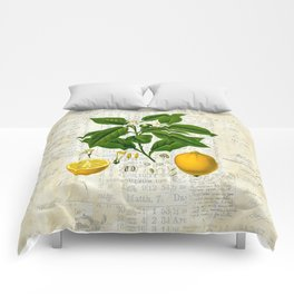 Lemon Botanical print on antique almanac collage Comforters