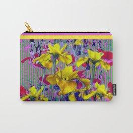 Wild Mustard Yellow Iris Fuchsia-Purple-Pink Pattern Abstract Carry-All Pouch