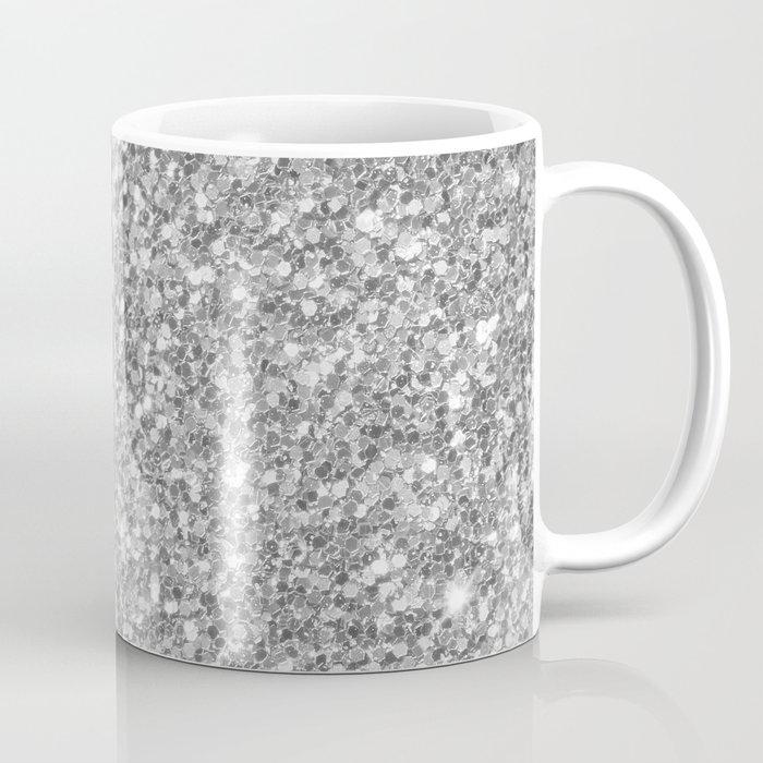 Silver Gray Glitter Coffee Mug