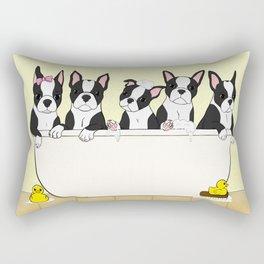 Boston Puppies in a Tub Rectangular Pillow