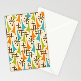 Retro Mid Century Modern Atomic Wing Pattern 421 Brown Orange Turquoise and Olive Green Stationery Cards