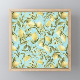 mediterranean summer lemon branches on turquoise Framed Mini Art Print
