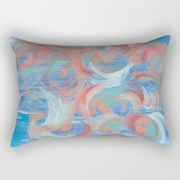 Swirl of Bubbles II - Abstract painting in modern bright blue, red, teal, orange, coral Rectangular Pillow