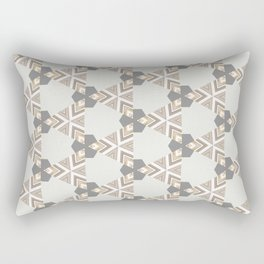 Neutral Grey Taupe Triange Pattern Design Rectangular Pillow