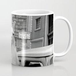 Llama Riding in Taxi, Black and White Vintage Print Coffee Mug