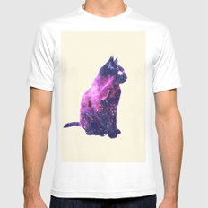 Whimsical Purple Nebula Cat Pink Galaxy Stars White MEDIUM Mens Fitted Tee
