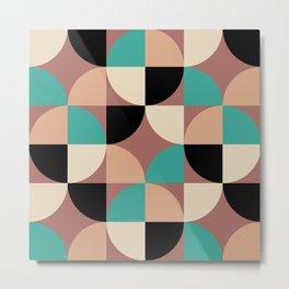 Mid Century Modern Geometric Pattern 454 Black Brown Turquoise and Beige Metal Print