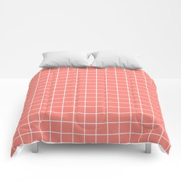 Coral pink - pink color - White Lines Grid Pattern Comforters