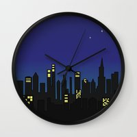 cityscape Wall Clocks featuring Cityscape by jozi.art