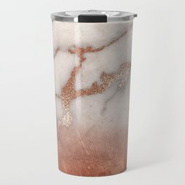 Shiny Copper Metal Foil Gold Ombre Bohemian Marble Travel Mug