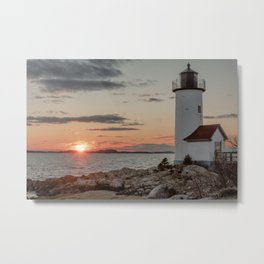 Sundown at the Annisquam Lighthouse Metal Print