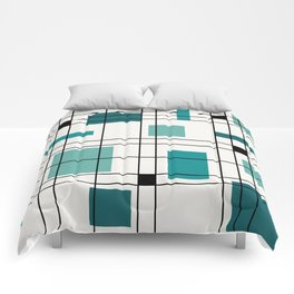 1950's Abstract Art Teal Comforters
