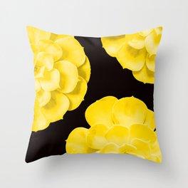 Large Yellow Succulent On Black Background #decor #society6 #buyart Throw Pillow