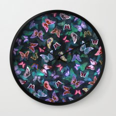 Butterfly  Forest Green Wall Clock