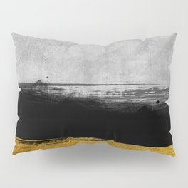 Black and Gold grunge stripes on modern grey concrete abstract backround I - Stripe - Striped Pillow Sham