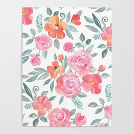 Amelia Floral in Pink and Peach Watercolor Poster