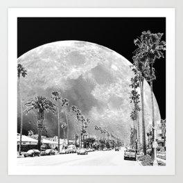 California Dream // Moon Black and White Palm Tree Fantasy Art Print Art Print