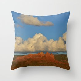 red rocks and a big cloud Throw Pillow