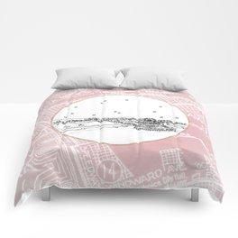 Santa Monica Pier, California City Skyline Illustration Drawing Comforters