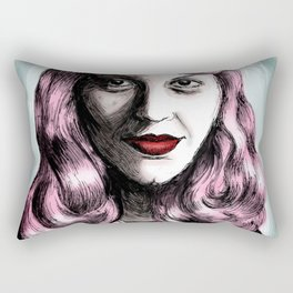 Sylvia Plath_Pink Blue Rectangular Pillow