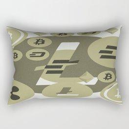 Ethereum, Bitcoin, Dash, Ripple, Litcoin pattern Rectangular Pillow