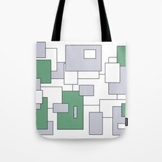 Squares - gray, green and white. Tote Bag