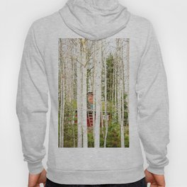 Red hut in forest Hoody
